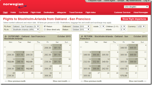OAK-ARN $338 Norwegian Oct15