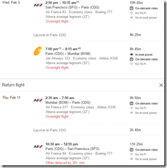 SFO-BOM $834 Air France