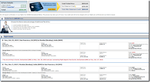 SFO-BOM $855 United
