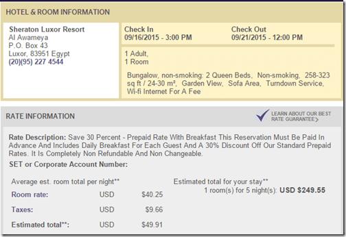 Sheraton Luxor 5 nights $250