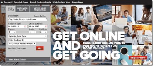 Club Carlson Get Online promo