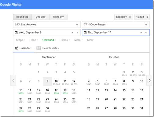 Google Flights Tutorial LAX-CPH return fares
