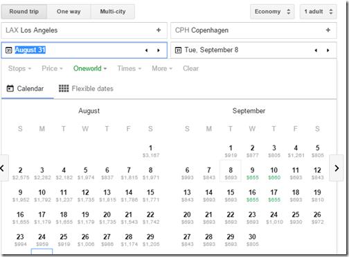 Google Flights tutorial LAX-CPH oneworld  fare calendar