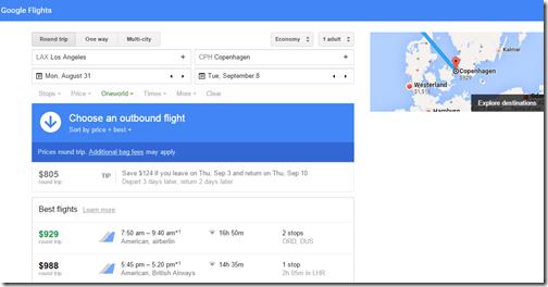 Google Flights tutorial LAX-CPH oneworld