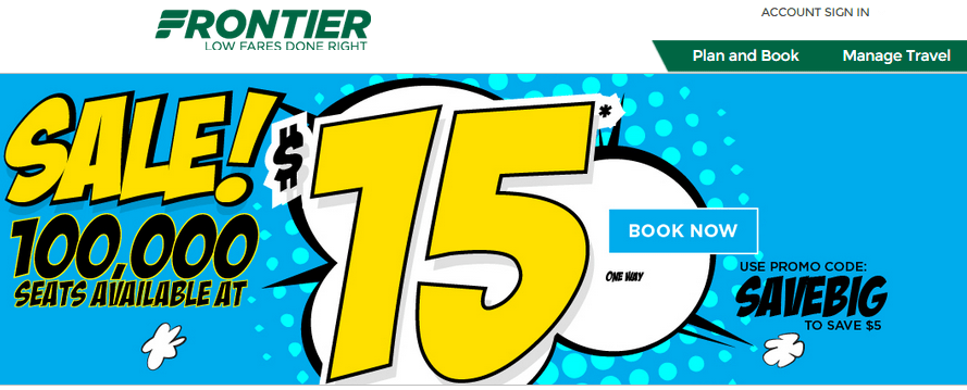Frontier airlines savebig round trip fares sfo to for Cheap round trip flights from chicago
