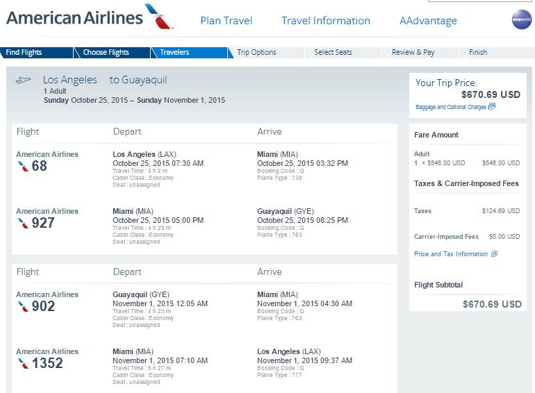 Delta 605 Los Angeles To Quito Ecuador United Lax To