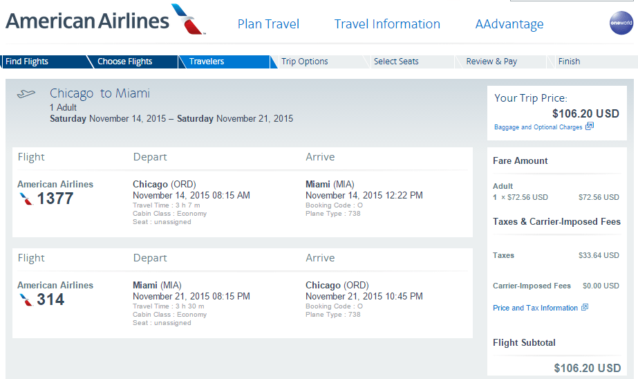 American chicago 80 to 106 round trip flights to bos for Round trip flight to chicago
