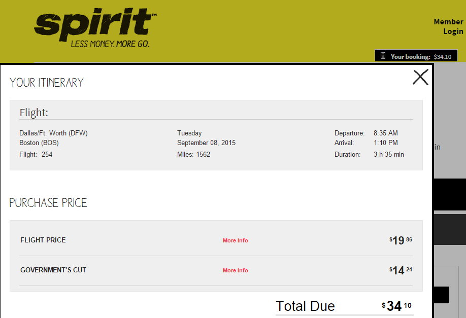 Real cost of dfw bos 34 spirit ticket compared to for Spirit airlines ticket prices