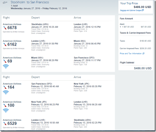 ARN-SFO AA $486 Jan 27-Feb 12