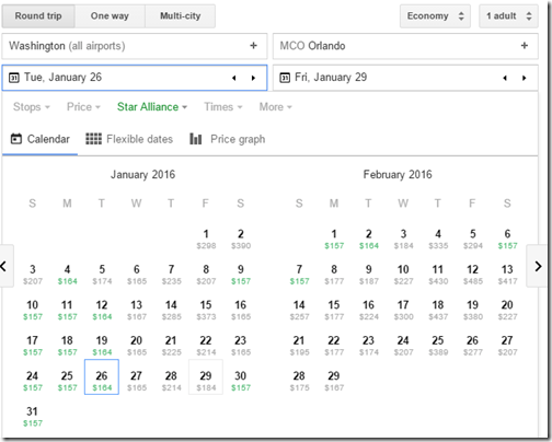 Google Flights fare calendar WAS-MCO