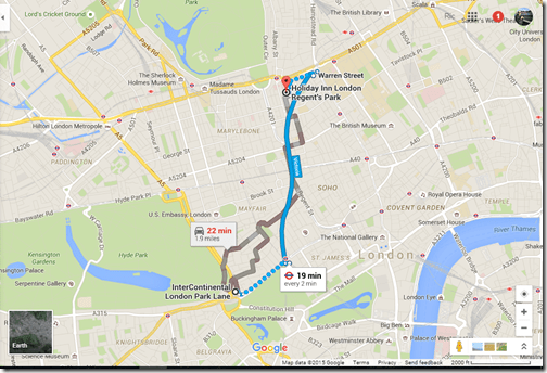 Google Maps IC London to HI Regents Park
