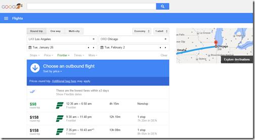 Google Flights LAX-ORD $98