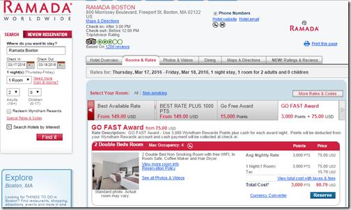 Ramada Boston Go Fast $75