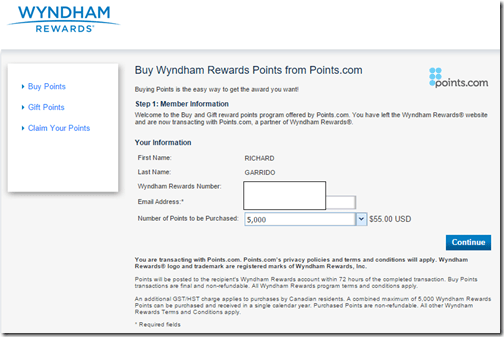 Wyndham buy points