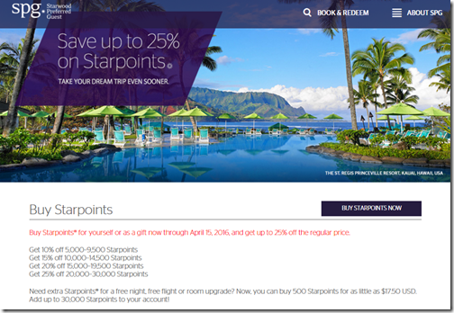 Starpoints buy points 25% by Apr15-16
