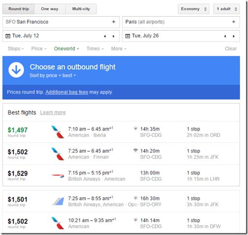 SFO-CDG Google Flights July12-26 $1500