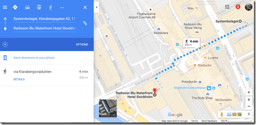 Google maps Stockholm Rad Blu Waterfront