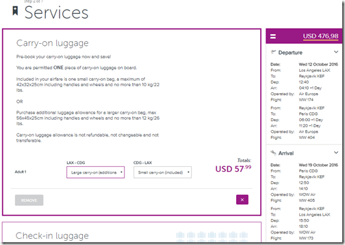 WOW bag fee carry-on LAX-Europe