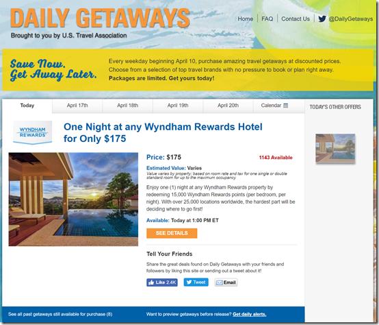 Daily Getaways Wyndham points 2017