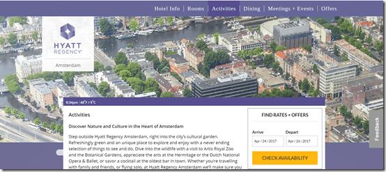 Hyatt Regency Amsterdam homepage