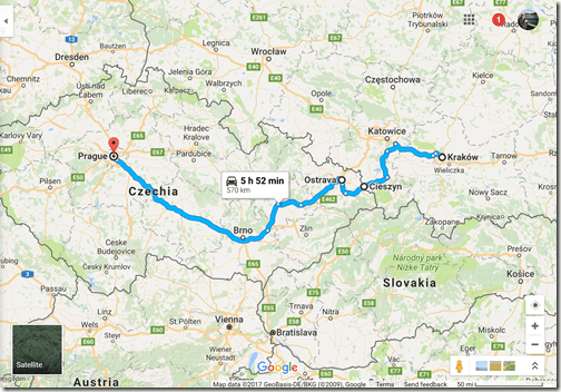 Google Maps Krakow-Prague