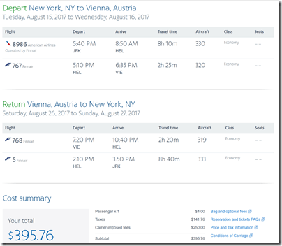 JFK-VIE $461 AA Aug15-26