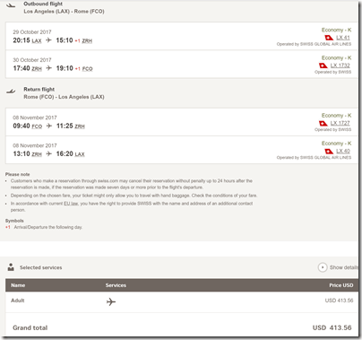 LAX-FCO $414 LX Oct29-Nov8
