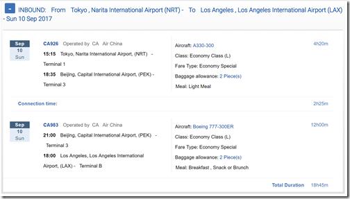 LAX-NRT-2 $539 Air China Aug31-Sep10