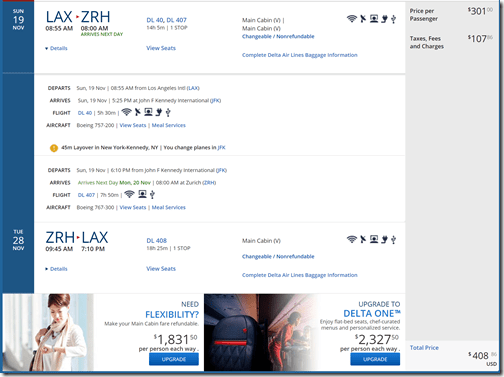 LAX-ZRH $409 DL Nov19-28