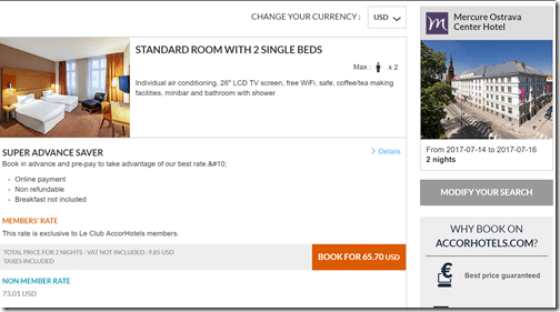 Mercure Ostrava $66 rate