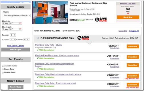 Park Inn Barona room rates May12-15