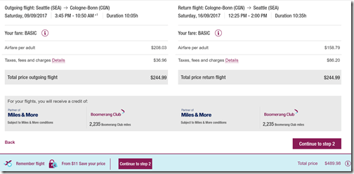 SEA-CGN $490 Sep9-16 Eurowings