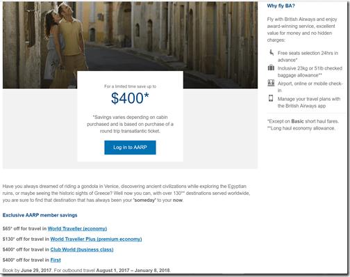 AARP BA $400 discount