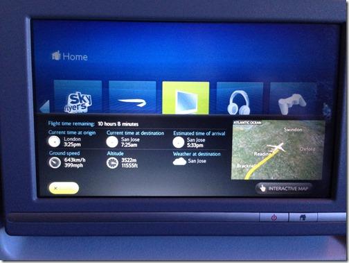 BA seat back flight map
