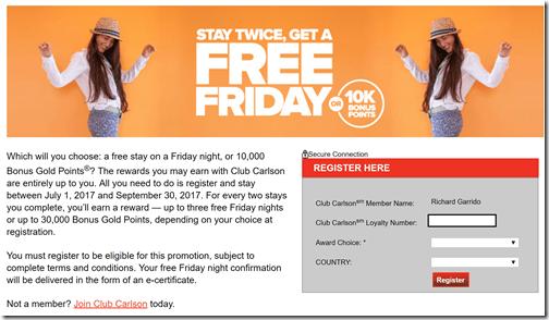 Club Carlson Free Fridays