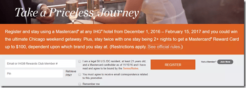 IHG Priceless Experiences promo
