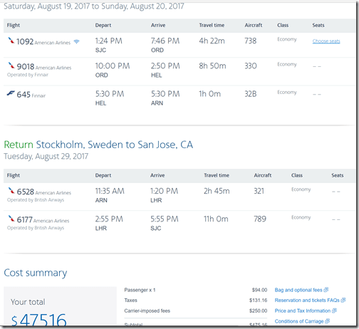 SJC-ARN $475 AA Aug19-29