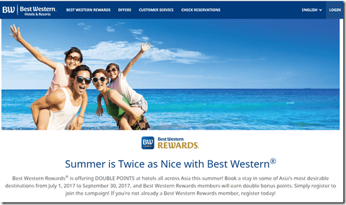 Best Western summer 2017 Asia 2xpoints