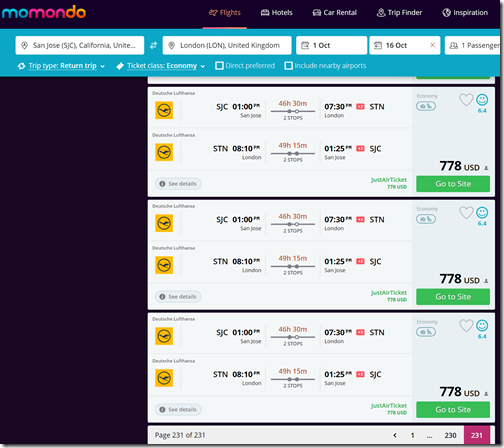 Momondo longest flights SJC-LHR
