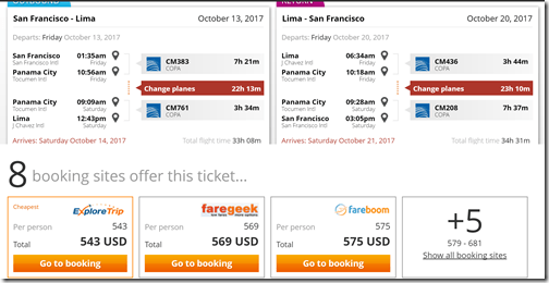 SFO-LIM $543 xxPTY Copa Oct13-20