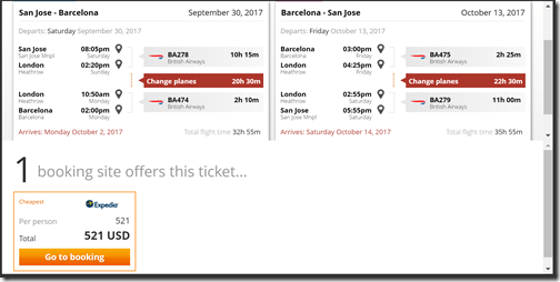 SJC-BCN $521 BA Sep30-Oct13