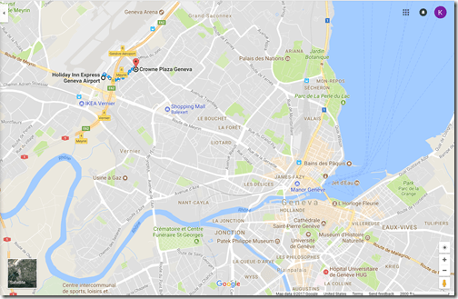 Google Maps Geneva IHG hotels