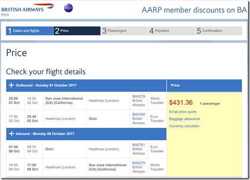 SJC-OSL $431 BA-AARP Oct1-9