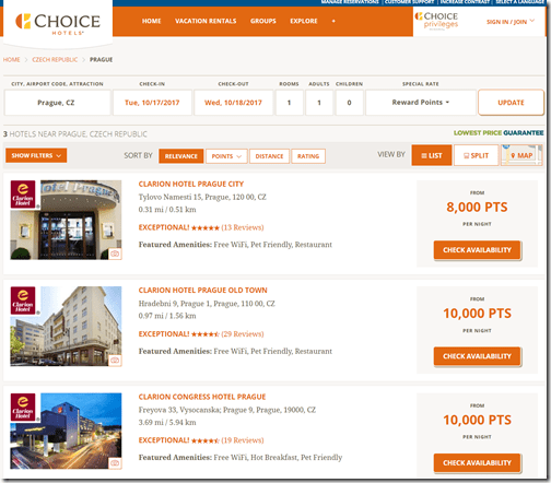 Choice Privileges Prague Rates (Aug 20, 2017)