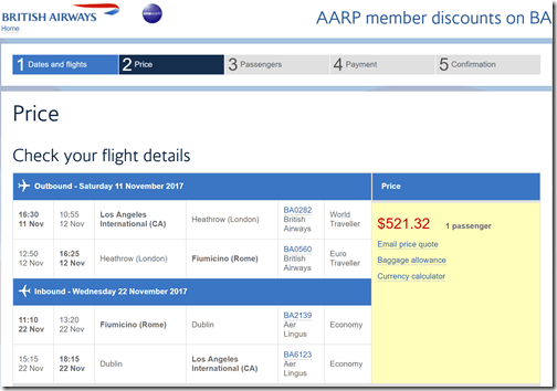 LAX-FCO $521 BA-AARP Nov12-22