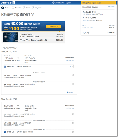 LAX-KUL $394ua Jan23-Feb1