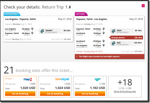 LAX-PPT $1020 NZ xAKL May22-28