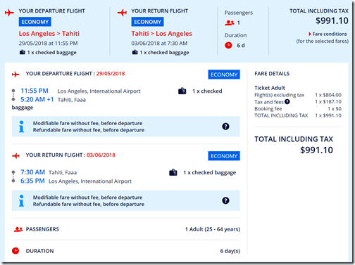 LAX-PPT $991 AF May29-Jun3