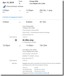 LAX-SIN $401 China Southern-2 Apr6-13