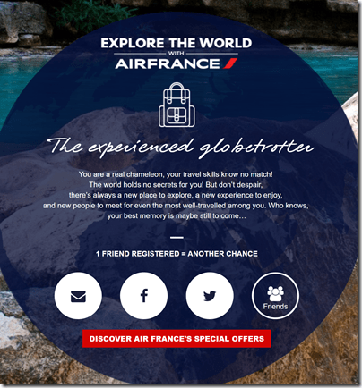 Air France sweepstakes quiz